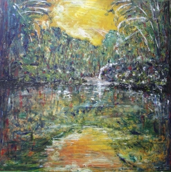 Paesaggio boschivo   100x100  2006