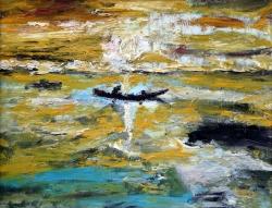 barca nel mare dorato 45x35  1971